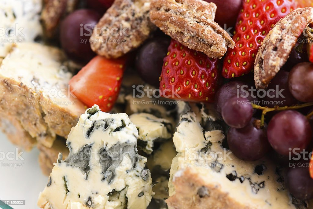 Cheese Platter Tray with Fresh Fruit stock photo