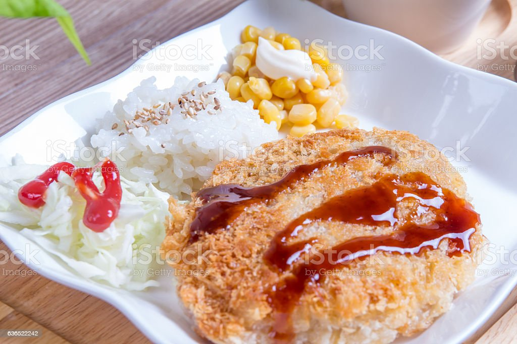 Cheese pork cutlet - Korean food stock photo