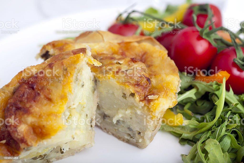 Cheese, potato and onion pie stock photo