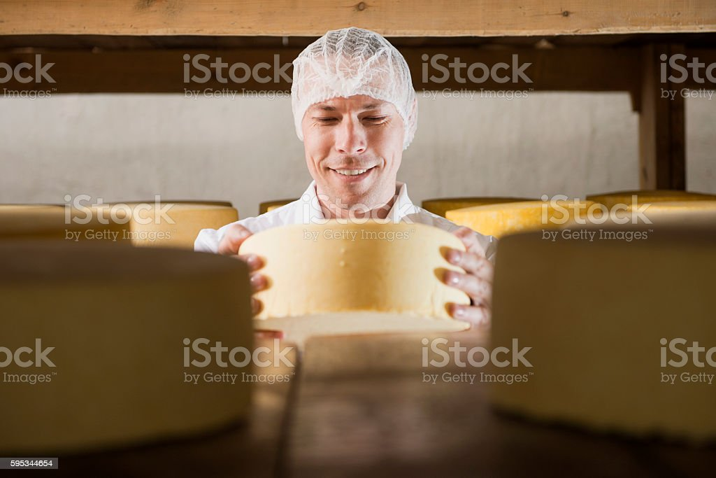 Cheese production at factory stock photo