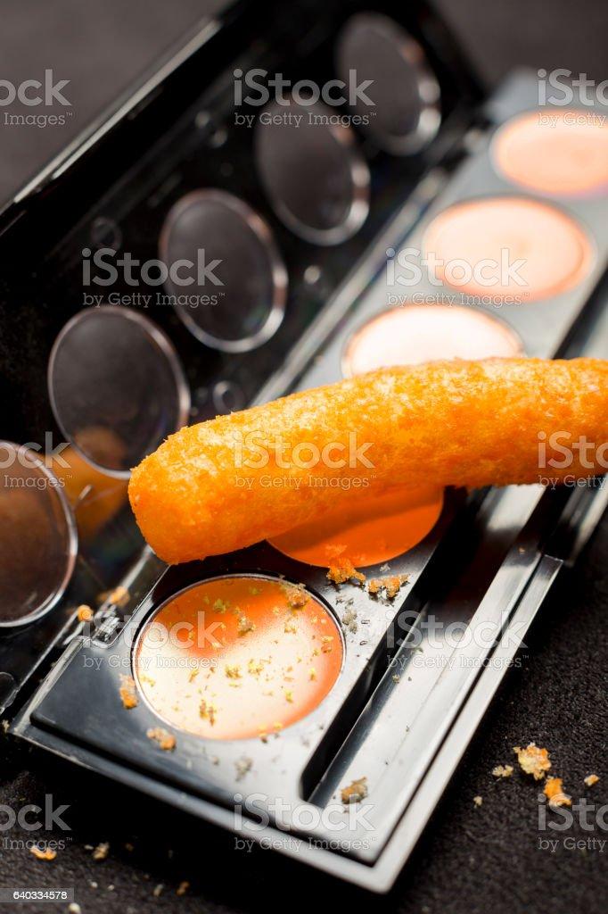 Cheese Puff Makeup (Vert) stock photo