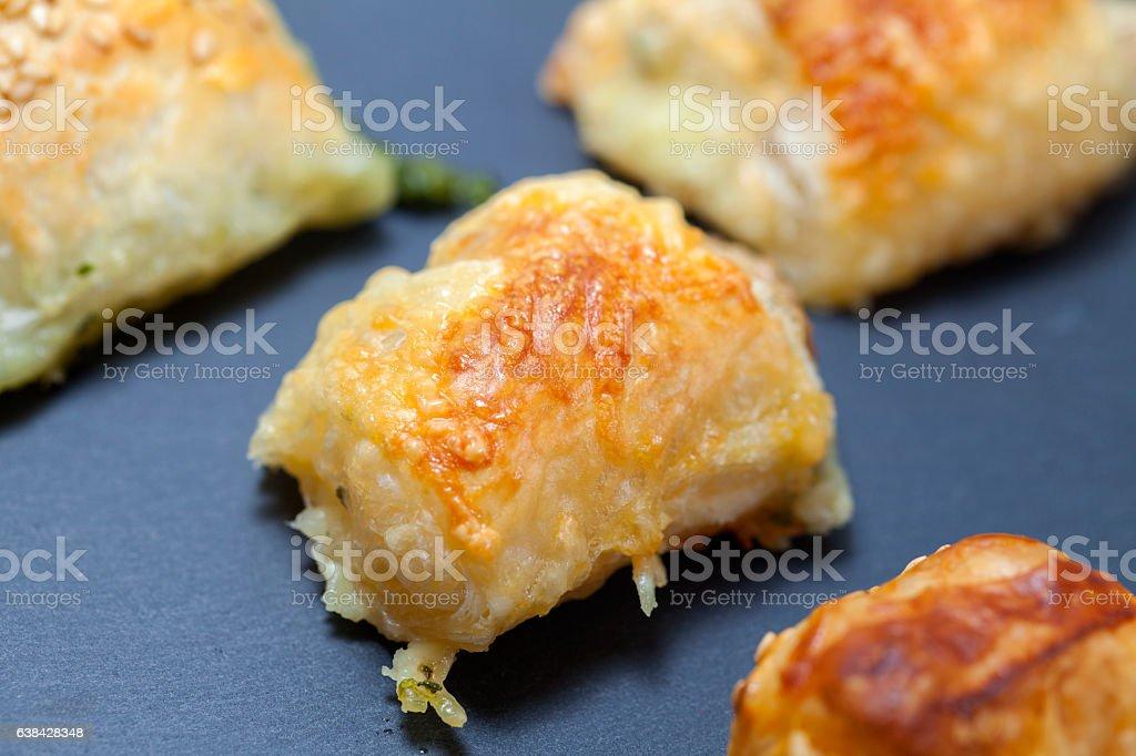 Cheese puff pastry homemade stock photo