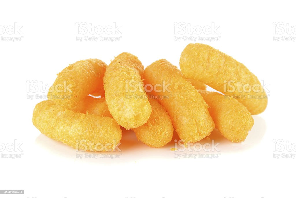 Cheese puff snack on a  white background stock photo