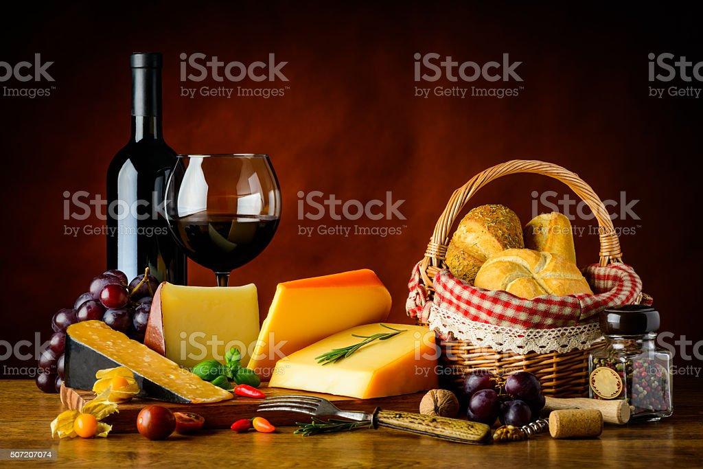 Cheese, Red Wine and Bun stock photo