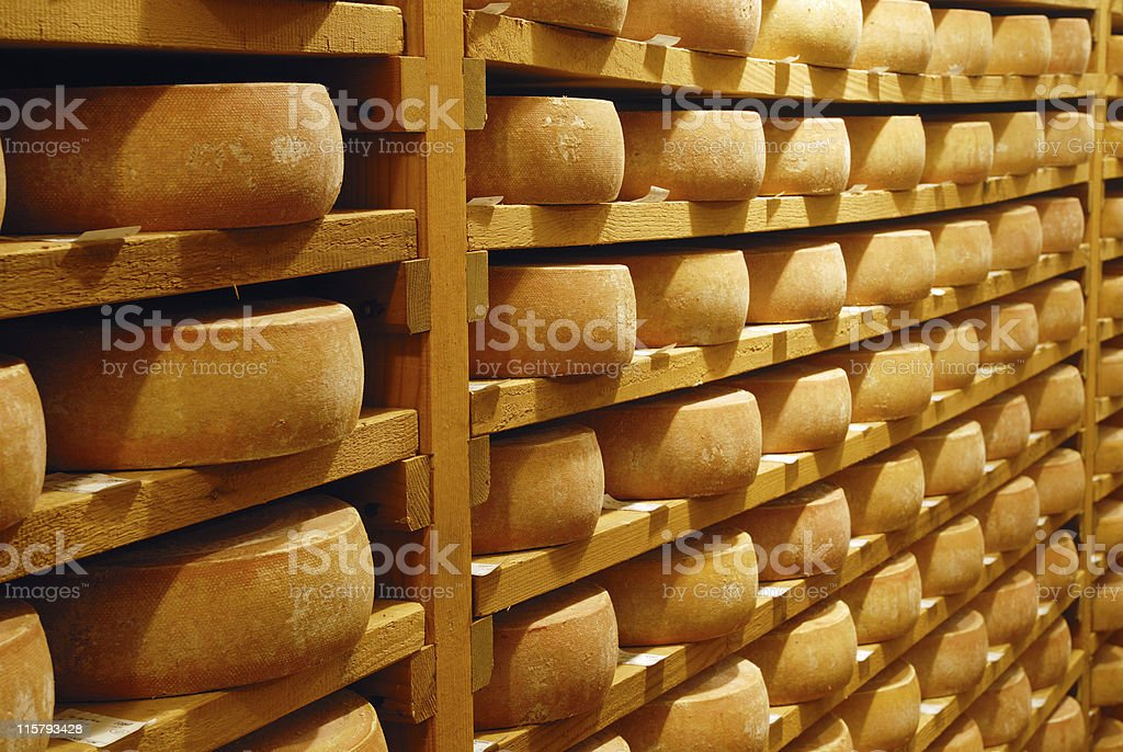 Cheese refining on shelves stock photo
