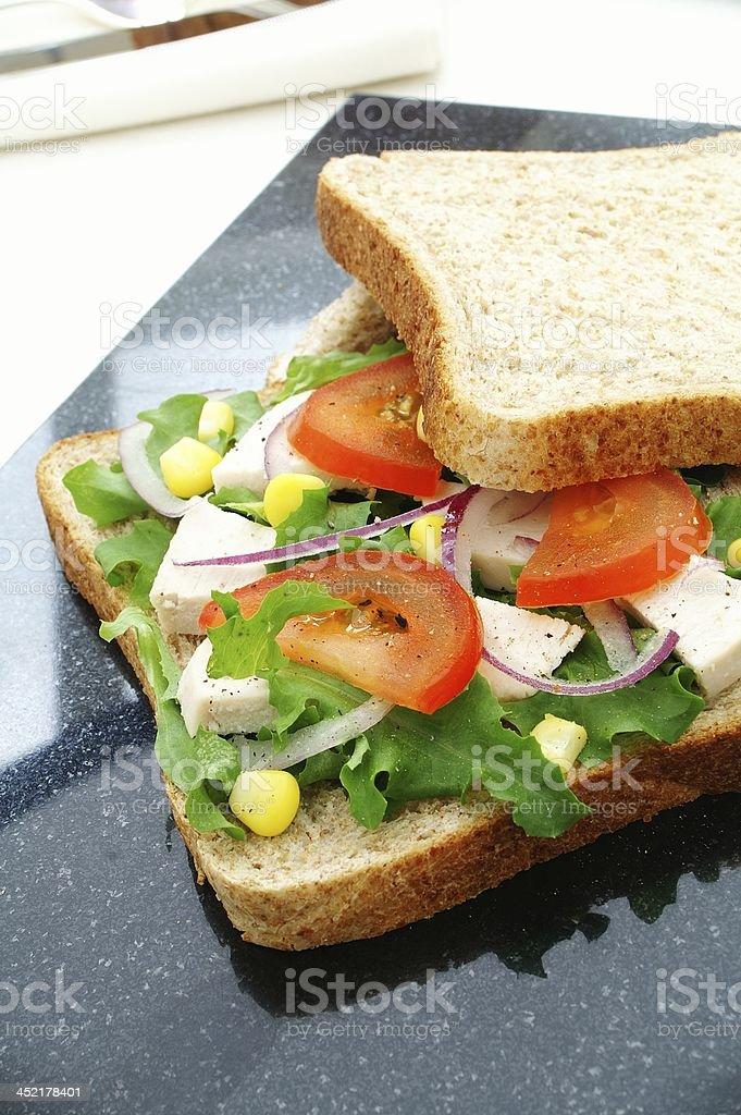 cheese salad sandwich snack stock photo