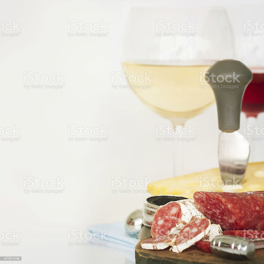 cheese salami  and wine royalty-free stock photo