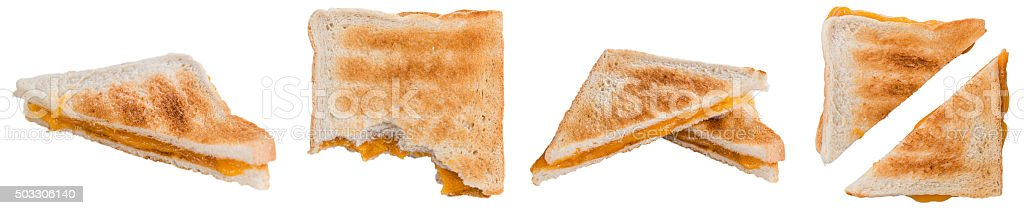 Cheese Sandwich isolated on white stock photo