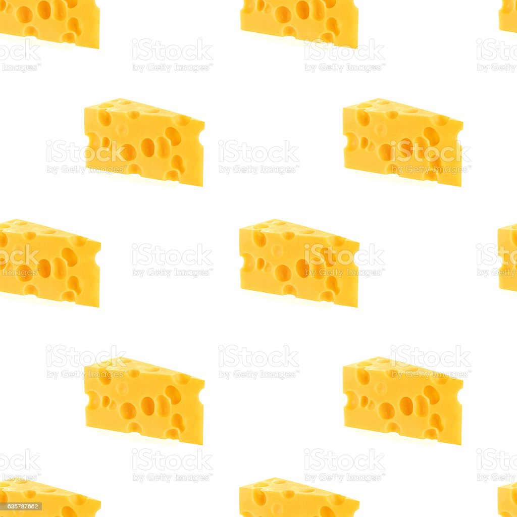Cheese seamless pattern isolated on white background stock photo
