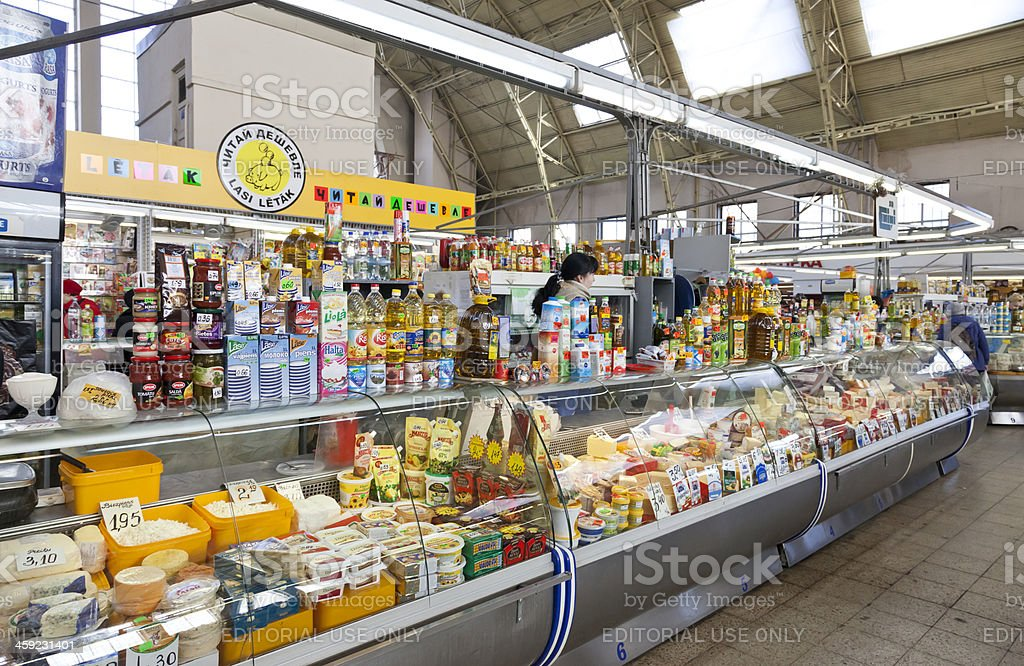 Cheese seller in Riga Central Market, Latvia royalty-free stock photo