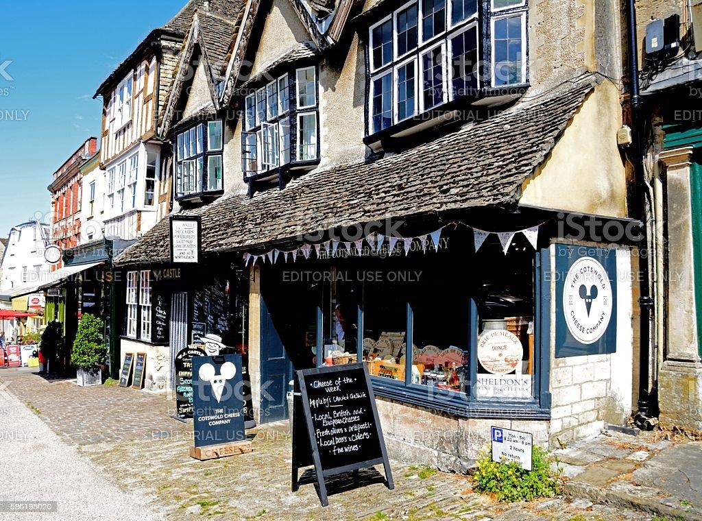 Cheese shop along shopping street, Burford. stock photo