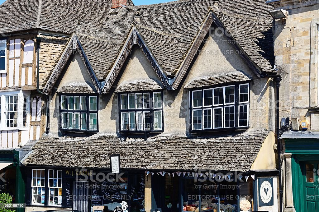Cheese shop along The Hill, Burford. stock photo