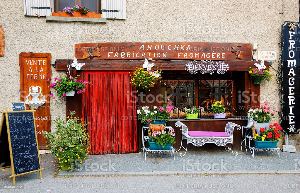 Cheese shop in Savoie region. stock photo