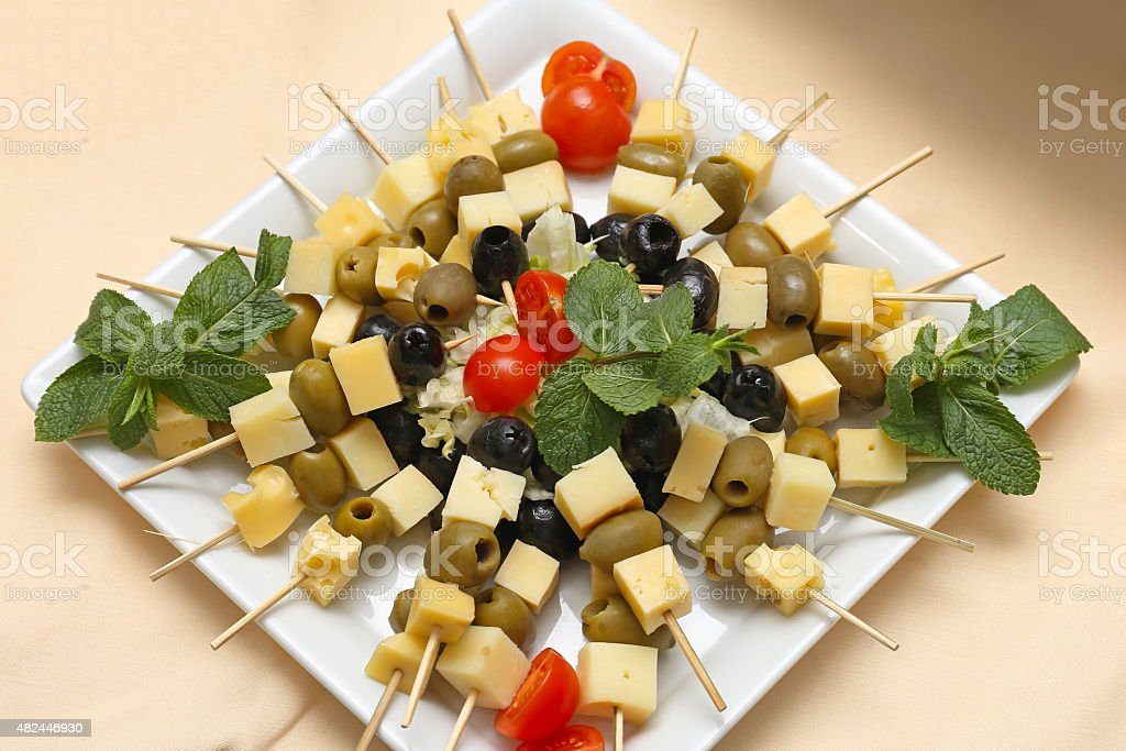 Cheese Skewers stock photo