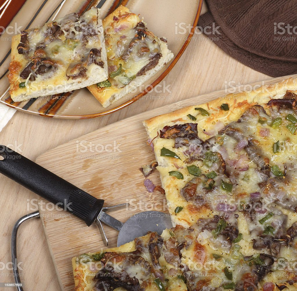 Cheese Steak Pizza royalty-free stock photo