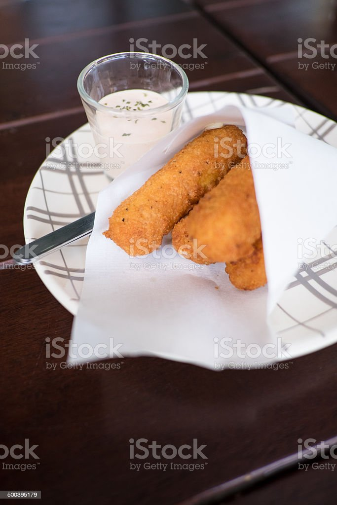 Cheese sticks and dip royalty-free stock photo