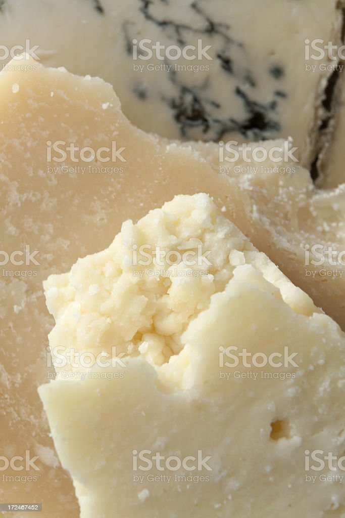 Cheese Stills: Pecorino, Gorgonzola and Parmesan royalty-free stock photo