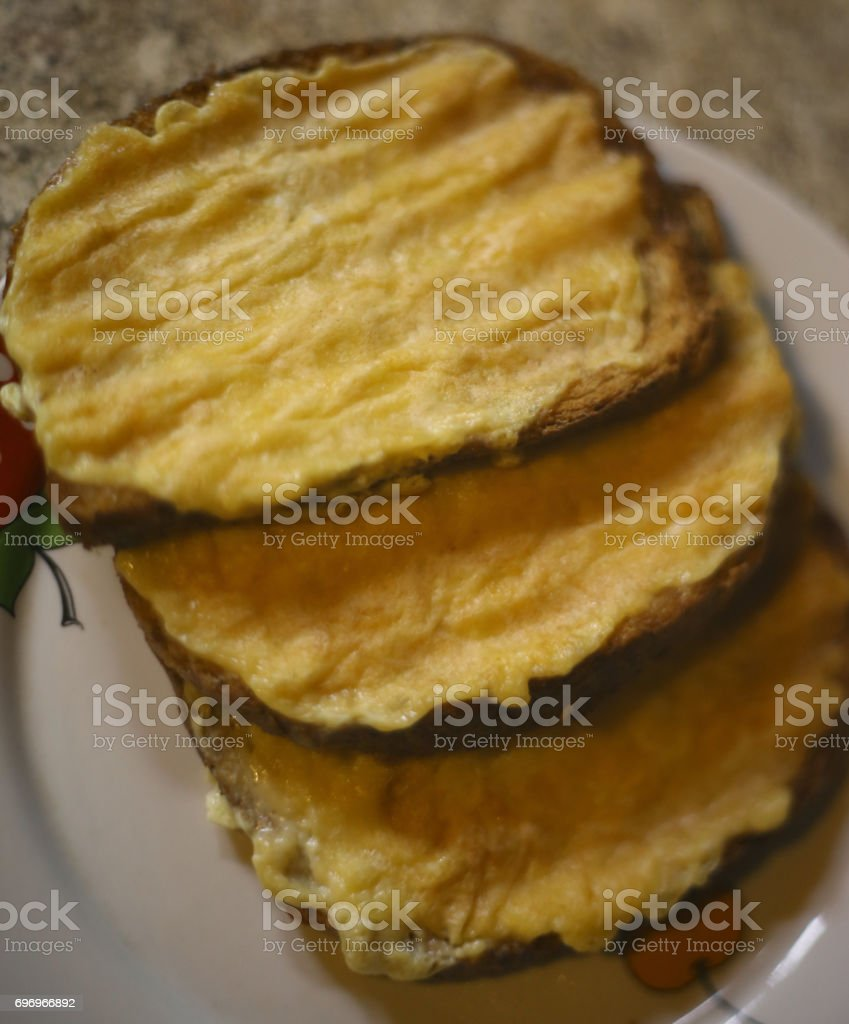 cheese toasts cooked on grill stock photo