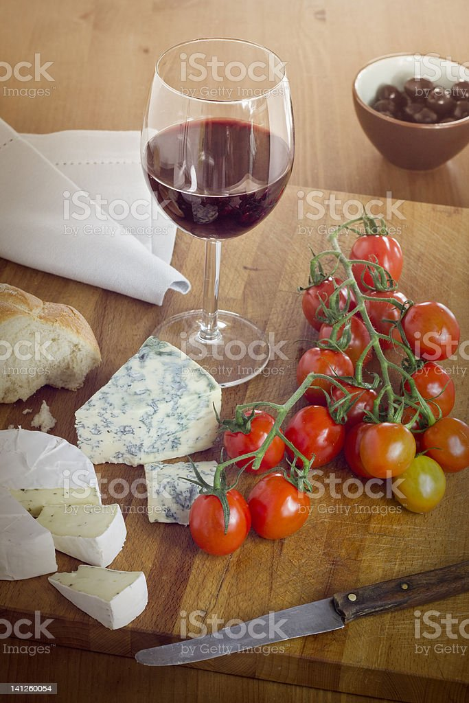 cheese, tomatoes and wine royalty-free stock photo