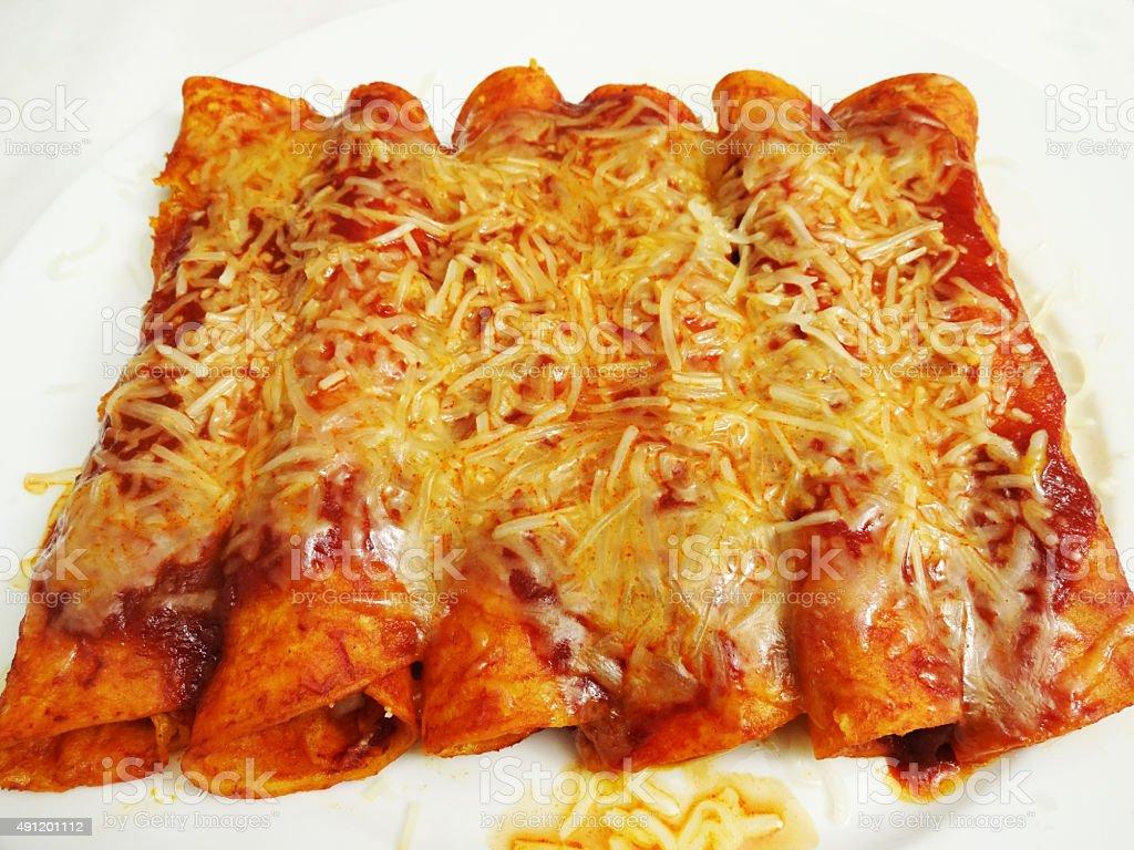 Cheese Topped Cheese Enchiladas stock photo