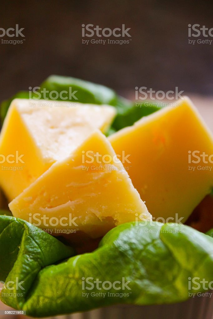 Cheese Triangles on a bed of lettuce stock photo