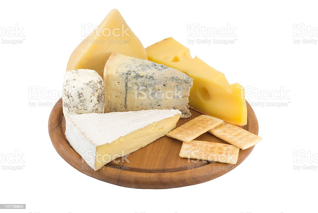 cheese variates on a cheeseboard royalty-free stock photo