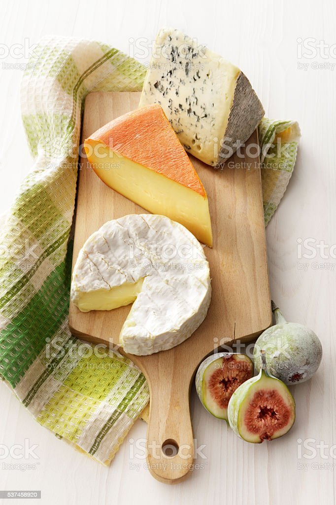Cheese: Variety of French Cheeses Still Life stock photo