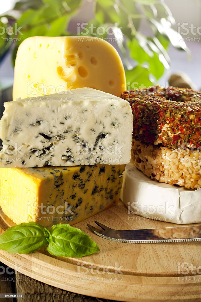 Cheese various assortment on wooden boards royalty-free stock photo