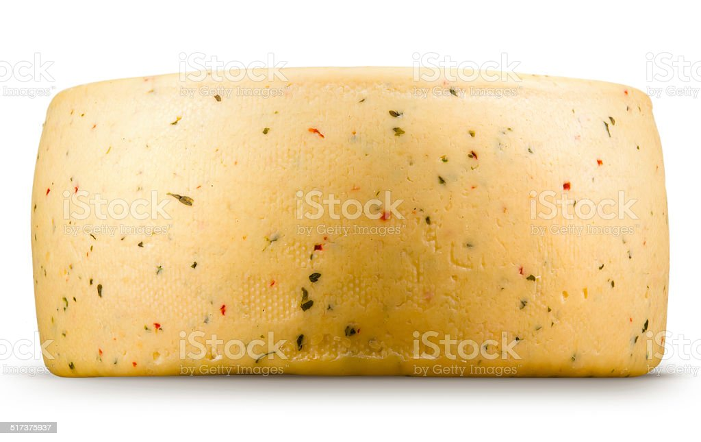 Cheese wheel isolated on a white background. stock photo