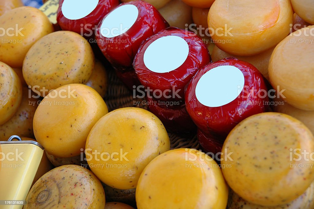 Cheese Wheels at the Market royalty-free stock photo