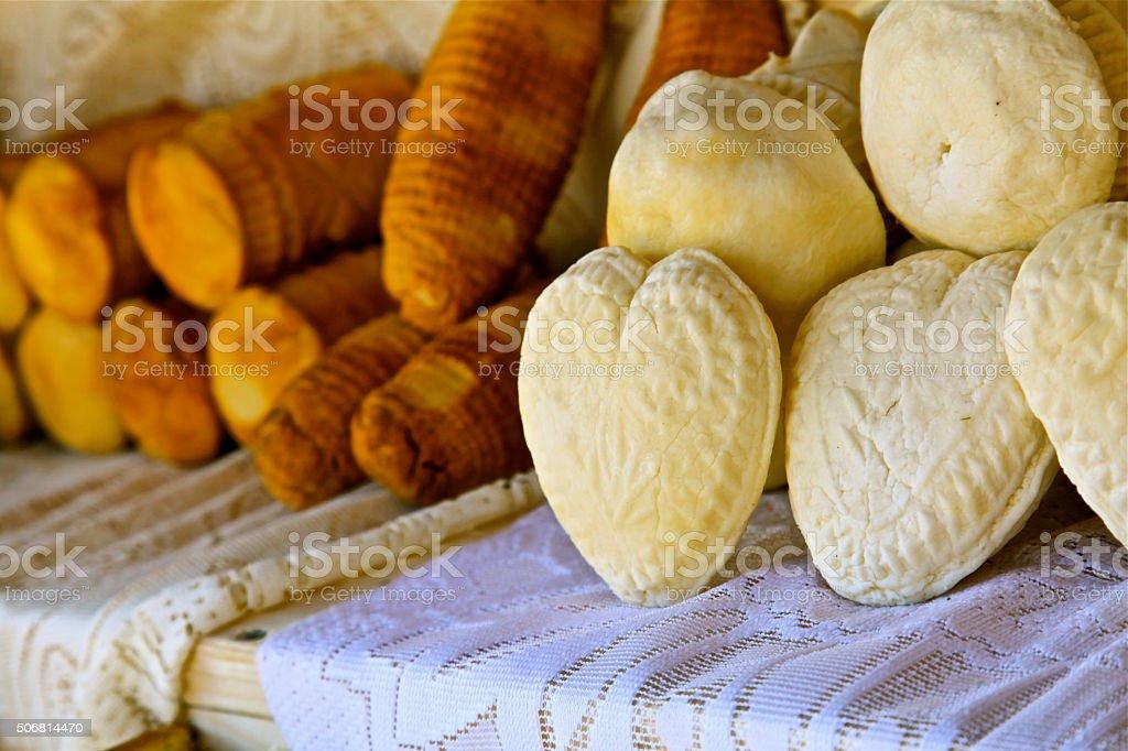 cheese white and smoked heart shape traditional Polish food Oscypek stock photo