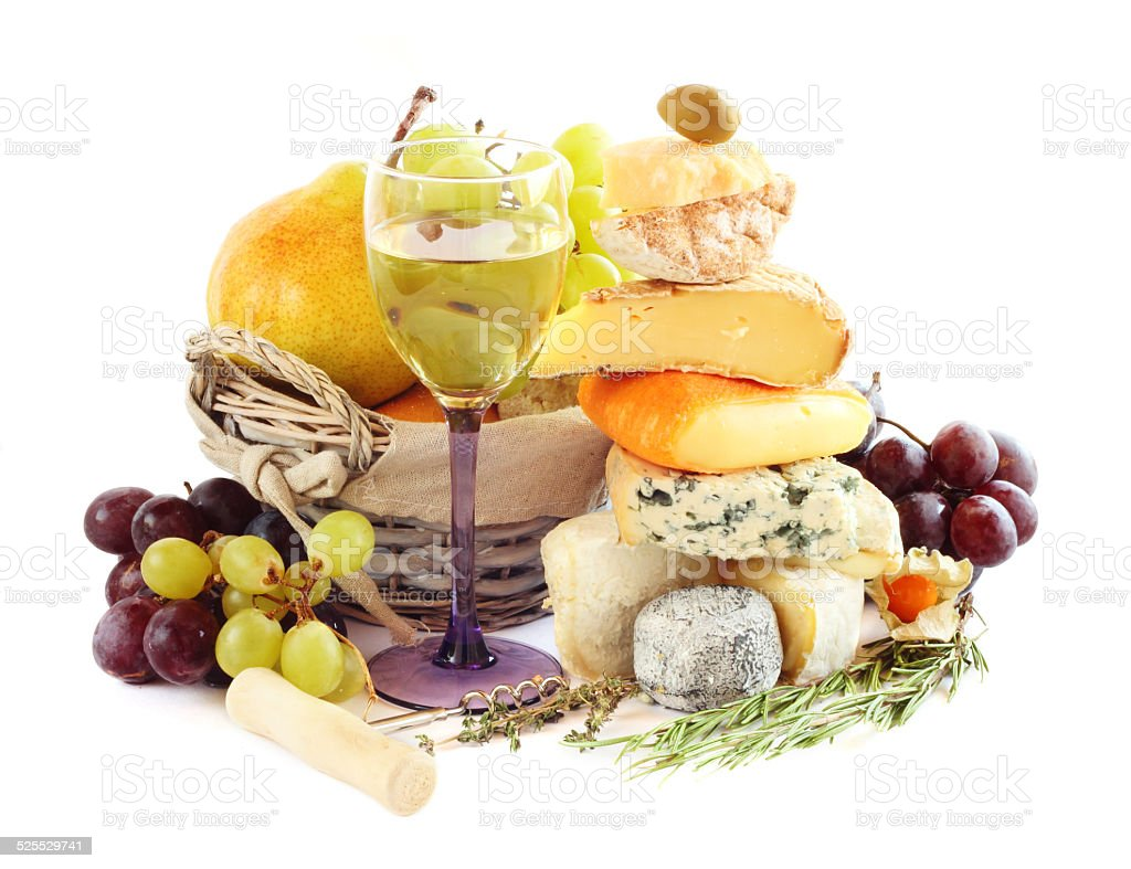 Cheese, wine and fruits stock photo
