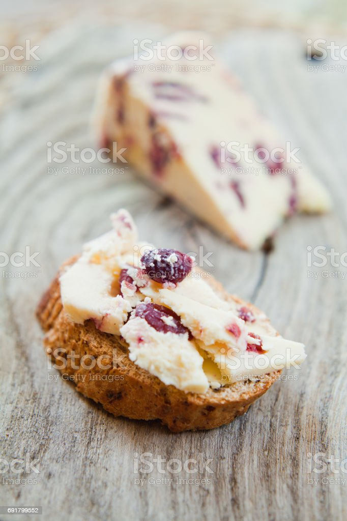 Cheese with cranberry stock photo