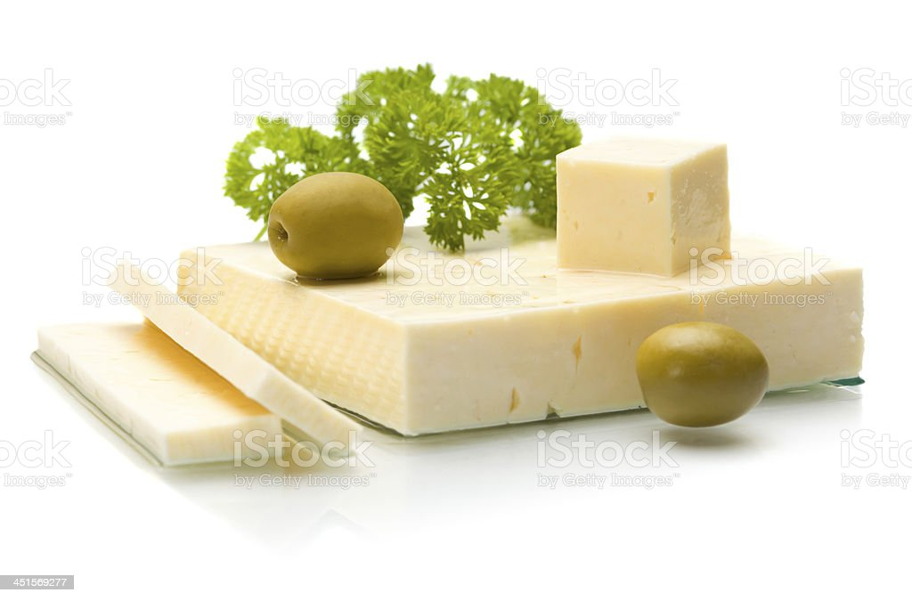 Cheese with olives and herbs stock photo