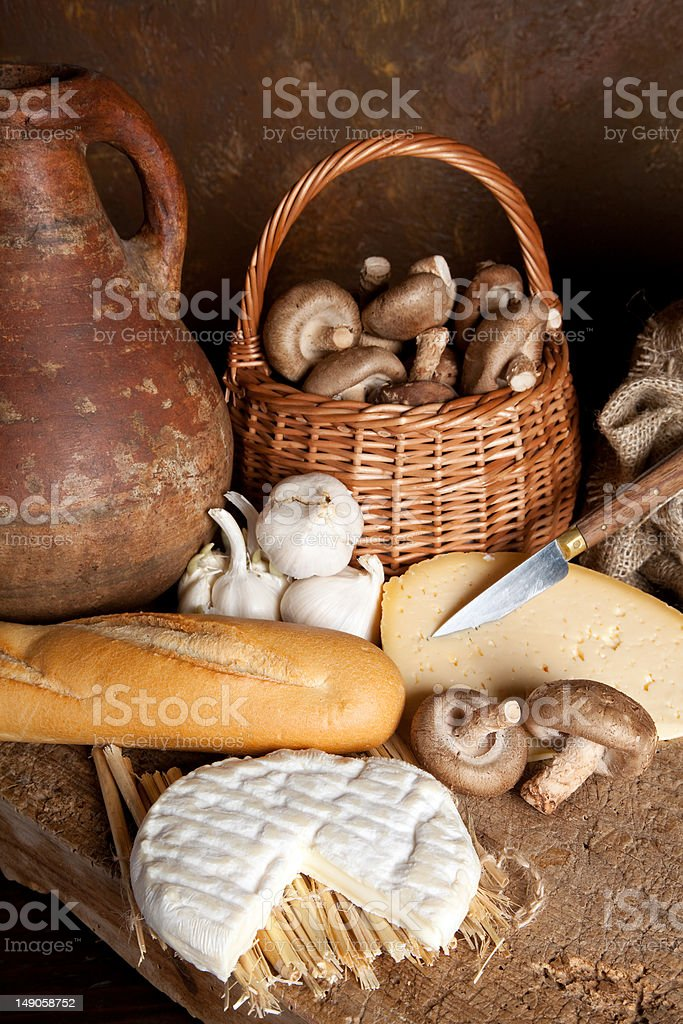 Cheese with wine and bread royalty-free stock photo