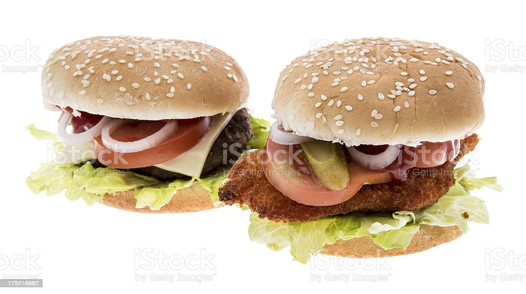 Cheeseburger and Chickenburger isolated on white royalty-free stock photo