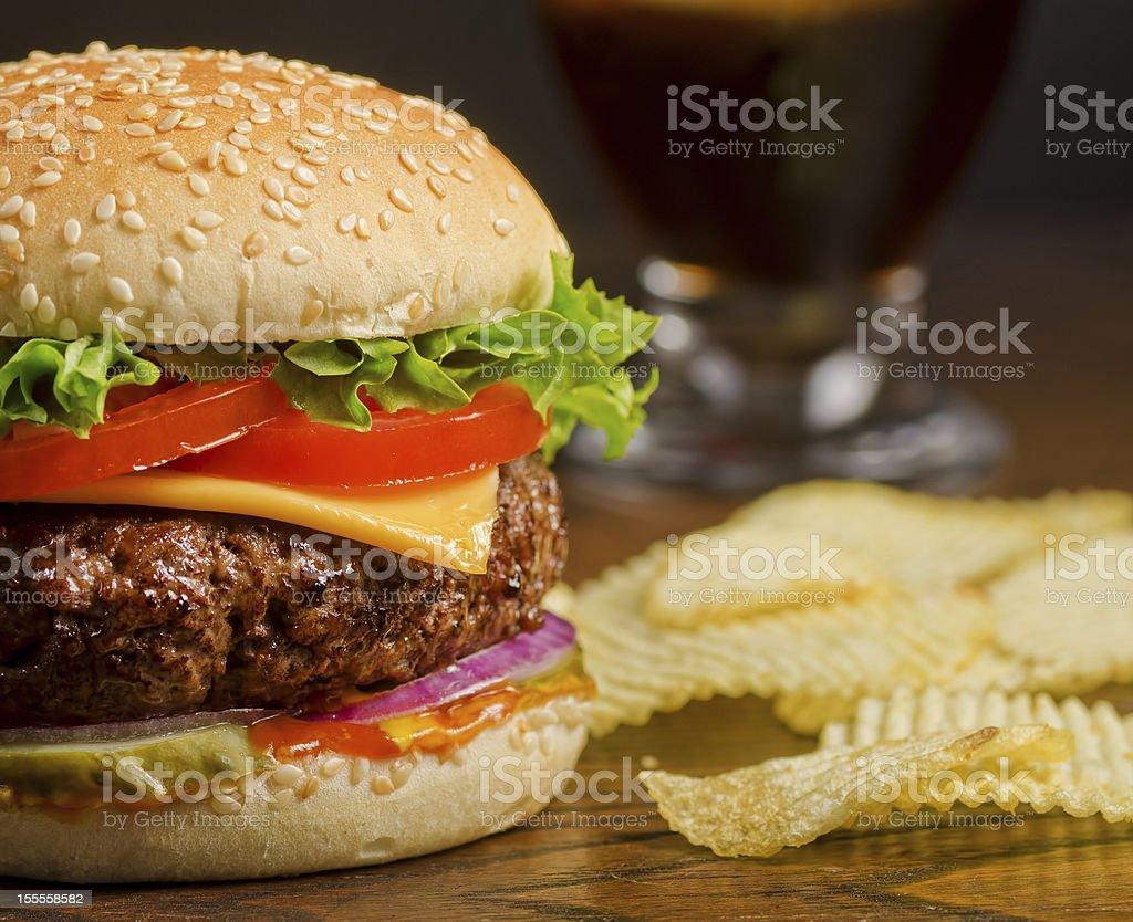 Cheeseburger and Chips royalty-free stock photo