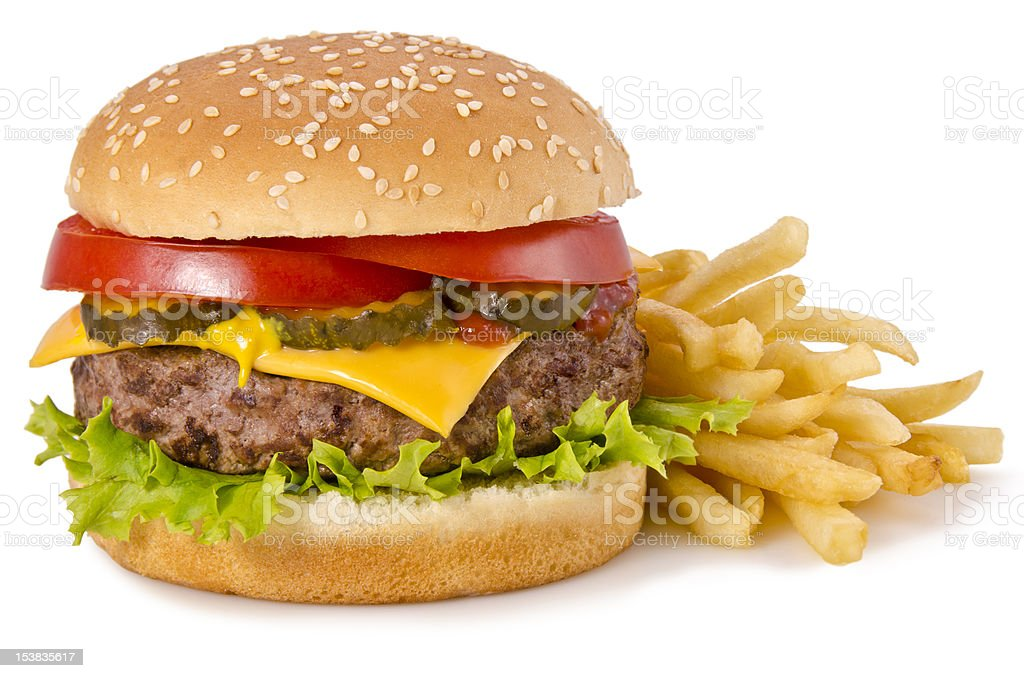 Cheeseburger and french fries stock photo