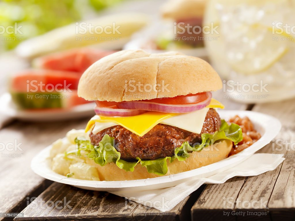Cheeseburger and Lemonade stock photo