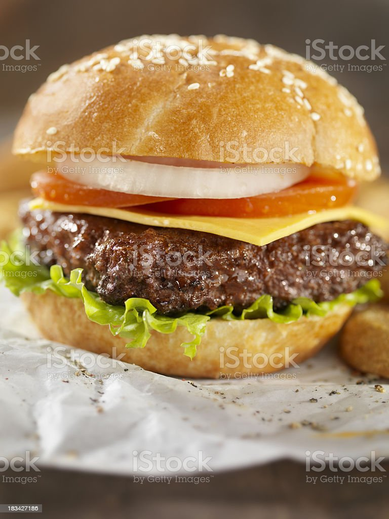 Cheeseburger and Onion Rings royalty-free stock photo