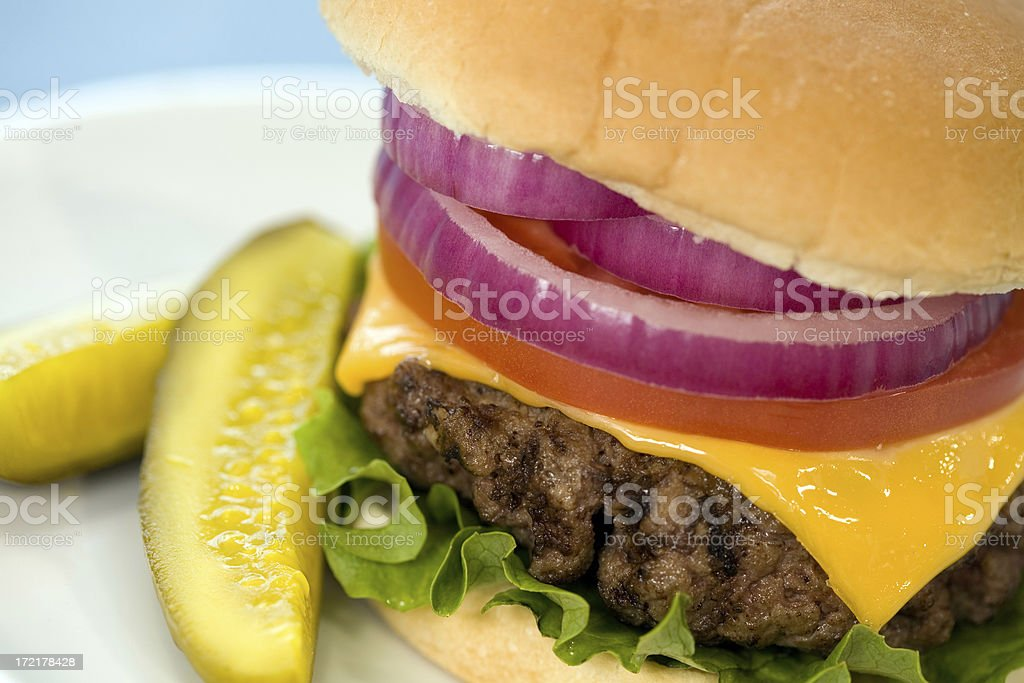 Cheeseburger and Pickles royalty-free stock photo