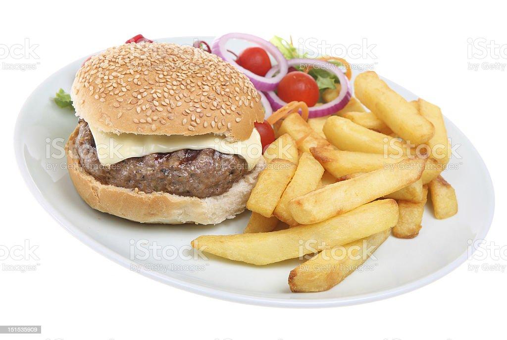 Cheeseburger & Chips royalty-free stock photo
