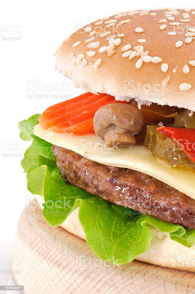 Cheeseburger, close-up stock photo