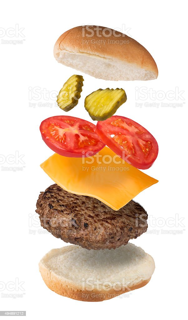 Cheeseburger Exploded View stock photo