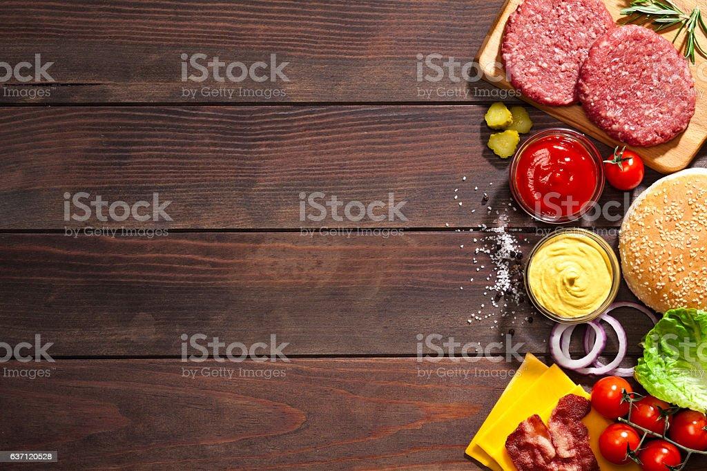 Cheeseburger ingredients border stock photo