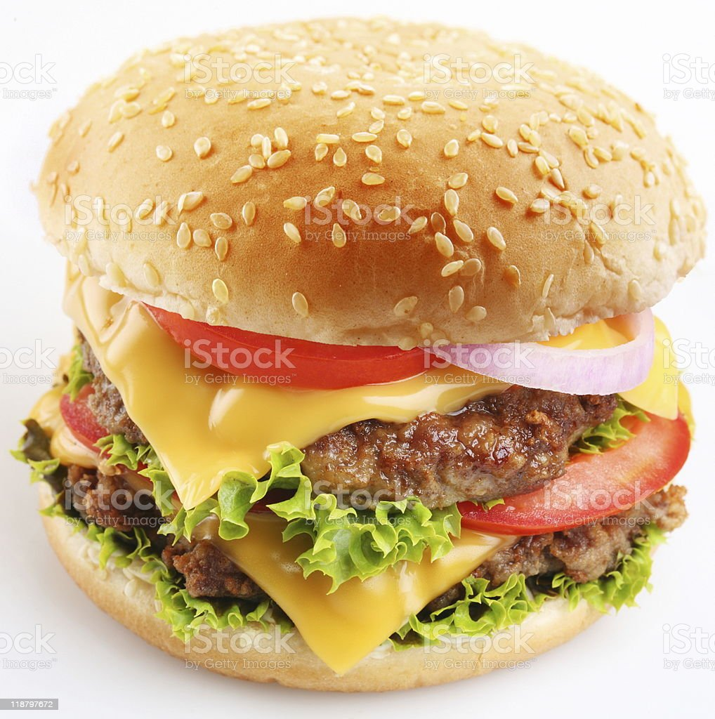 Cheeseburger on a white background royalty-free stock photo