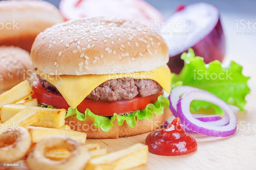 cheeseburger stock photo