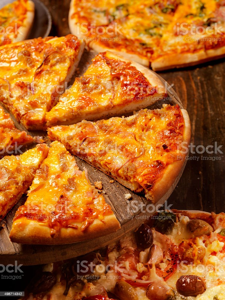 Cheeseburger Pizza stock photo