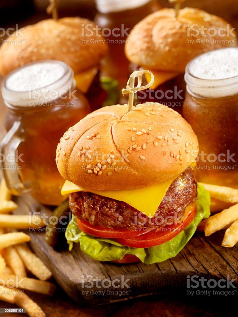 Cheeseburger Sliders with Beer Samplers stock photo