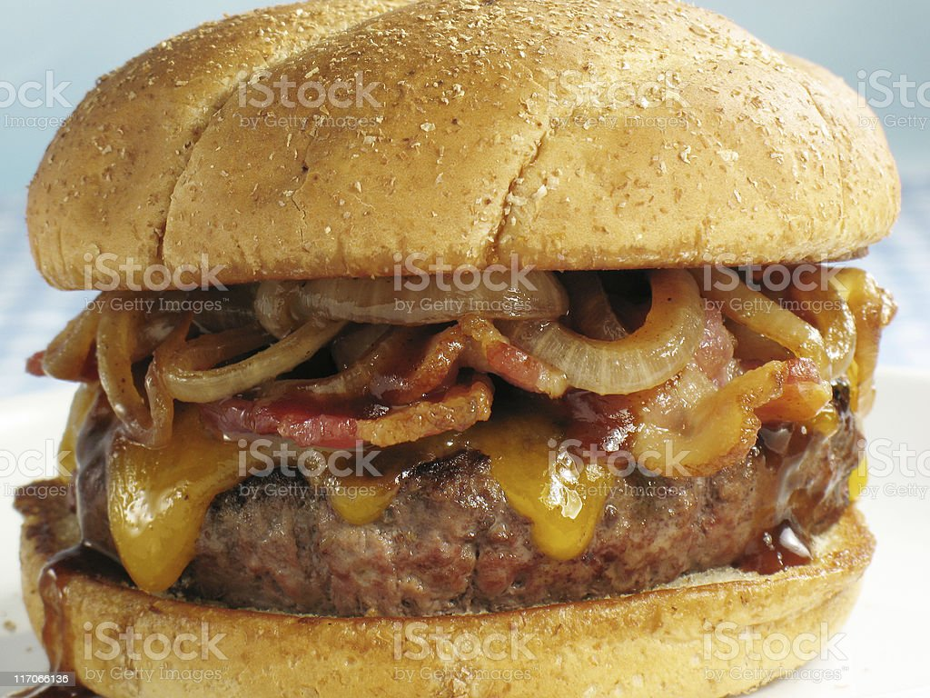BBQ Cheeseburger With Bacon stock photo